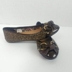 Sperry size 6 Brown and Tan Tweed Flats